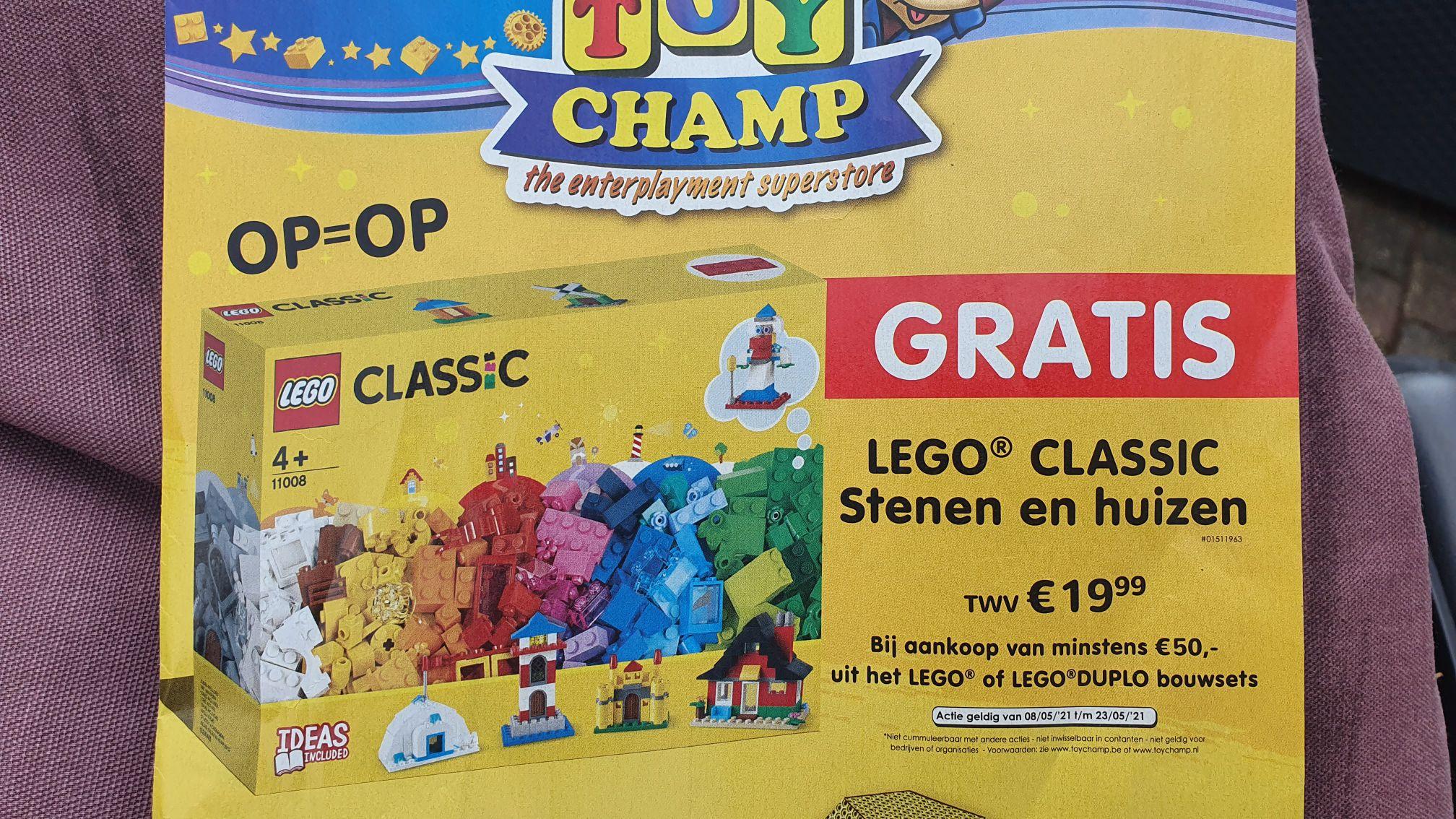Gratis doos lego classic stenen en huizen bij 50 euro aan lego of lego duplo bouwsets