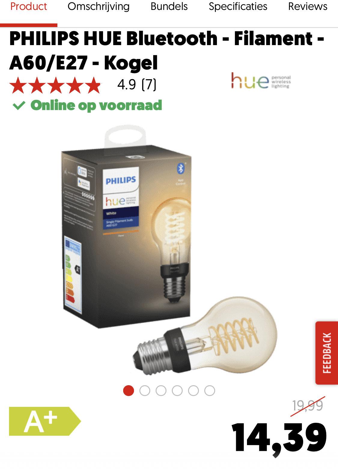 Philips Hue Filament 25% korting bij MediaMarkt NL