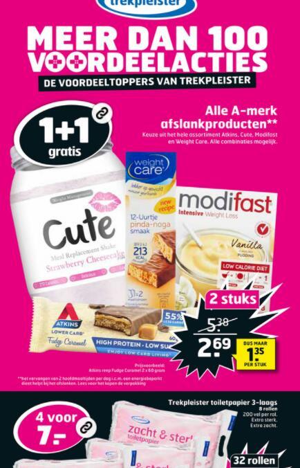 Atkins, Modifast, Cute en Weightcare allemaal 1+1 bij Trekpleister. Producten vanaf 1,59 euro.