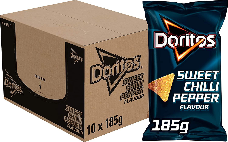 Doritos Sweet Chilli Pepper Chips, Doos 10 zakken à 185 g @ Amazon NL