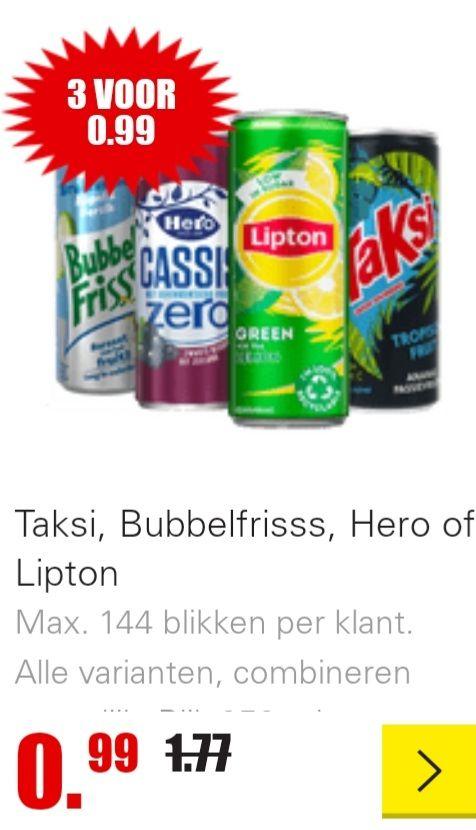 DIRK 3 blikken voor 99 cent. Taksi, Bubbelfrisss, Hero of Lipton Max. 144 blikken per klant. Alle varianten, combineren mogelijk.