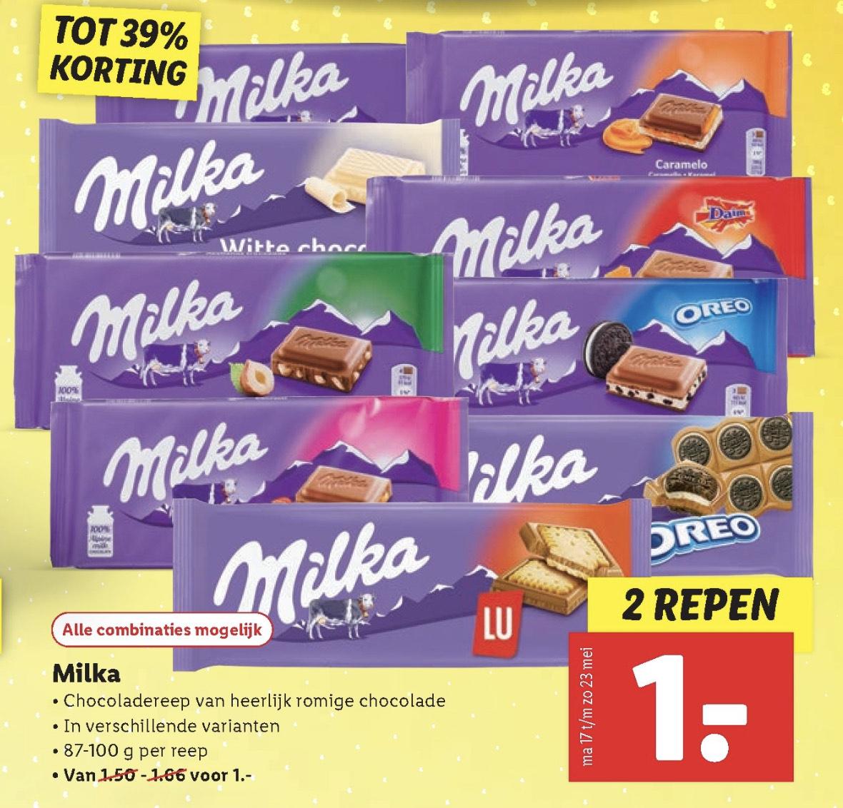 2 Milka repen voor 1,- bij Lidl vanaf 17 mei