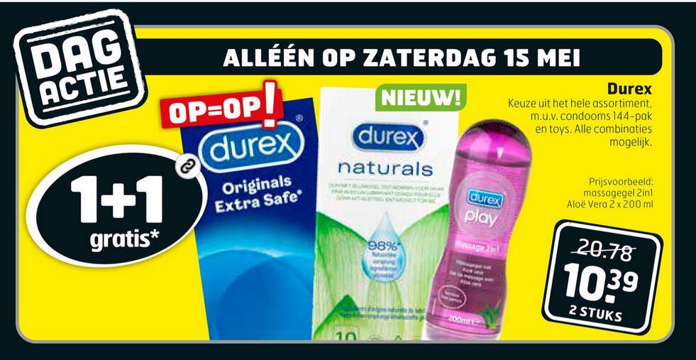 Zaterdag 15 mei: 1+1 gratis op Durex bij Trekpleister