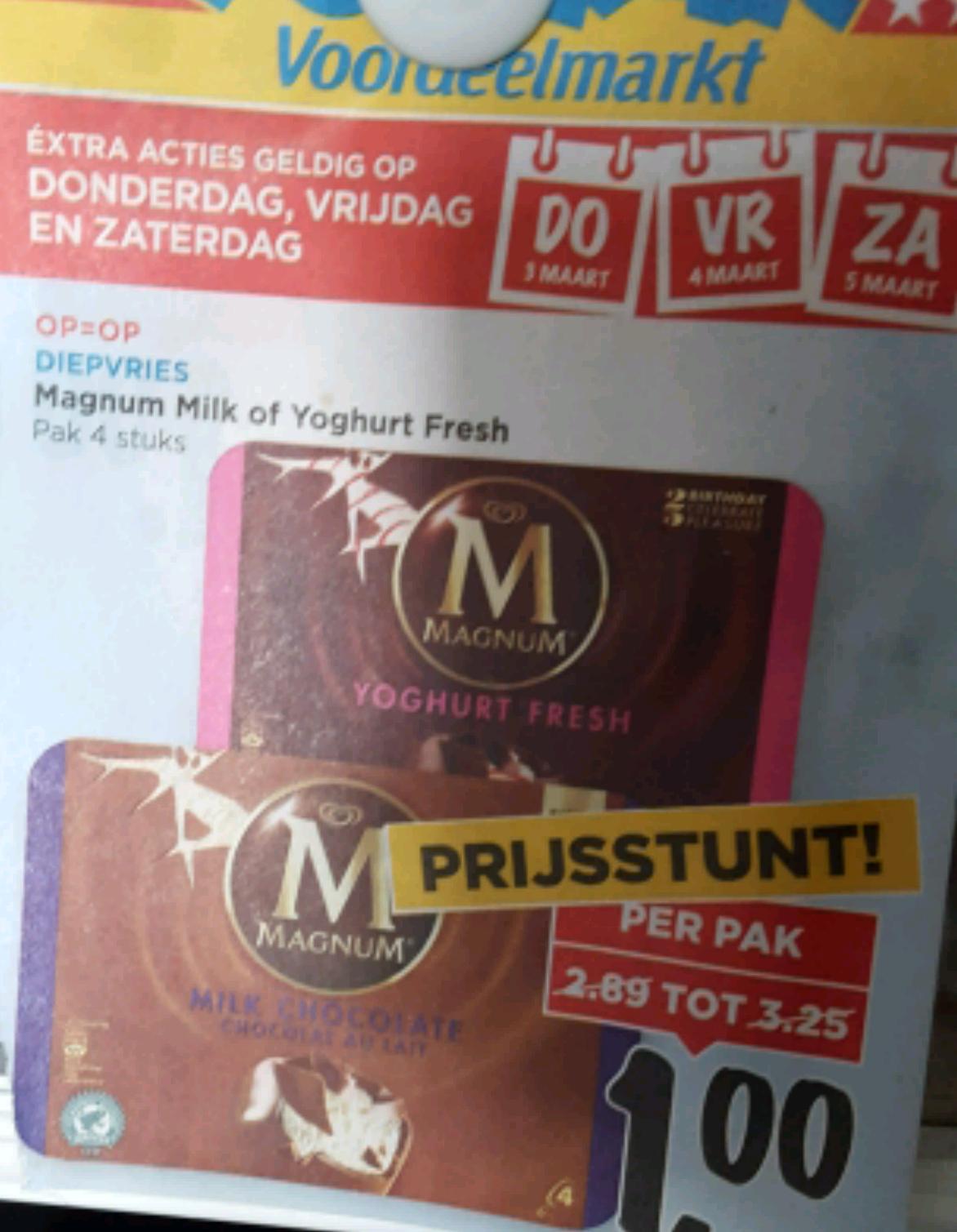 Magnum ijs 1 euro per pak