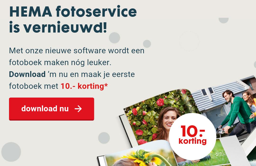 €10 korting op fotoboeken door downloaden van software @ HEMA