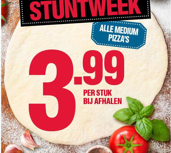 Stuntweek alle medium pizza's voor €3,99 tot zondag 6 maart @ Domino's (geselecteerde vestigingen)