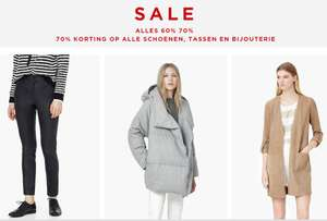 Alle sale 60-70% korting (alle schoenen, tassen, bijoux -70%) @ Mango