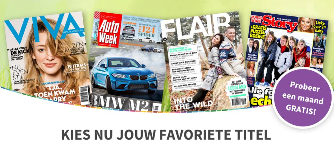 1 maand gratis tijdschrift (Viva, Flair, Story en Auto Week) @ Magazine