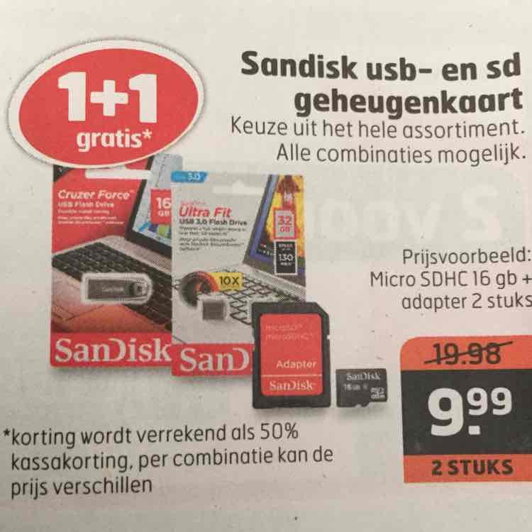 1+1 Sandisk usb- en sd geheugenkaarten voor €9,99 @ Trekpleister
