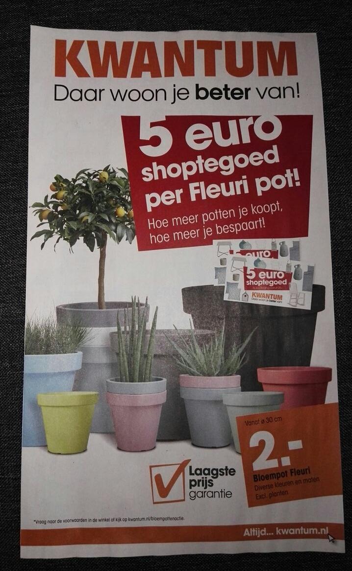Gratis €5 shoptegoed per Fleuri pot (vanaf €2) @ Kwantum