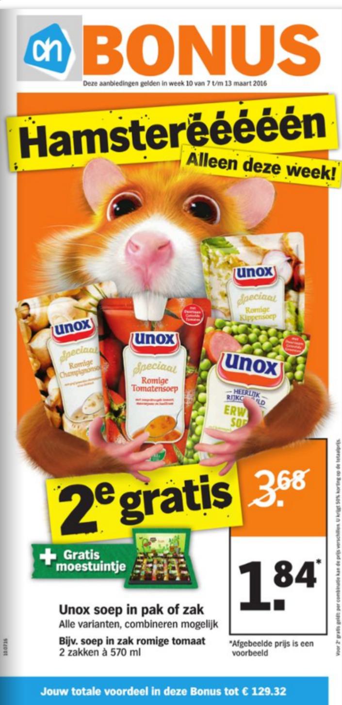 Hamsterweken, veel 2e gratis en 50% @ AH (vanaf maandag)