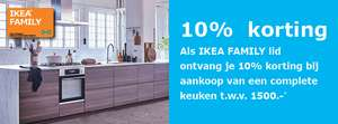 10% korting op complete keukens t.w.v. min. €1500 @ IKEA Amsterdam