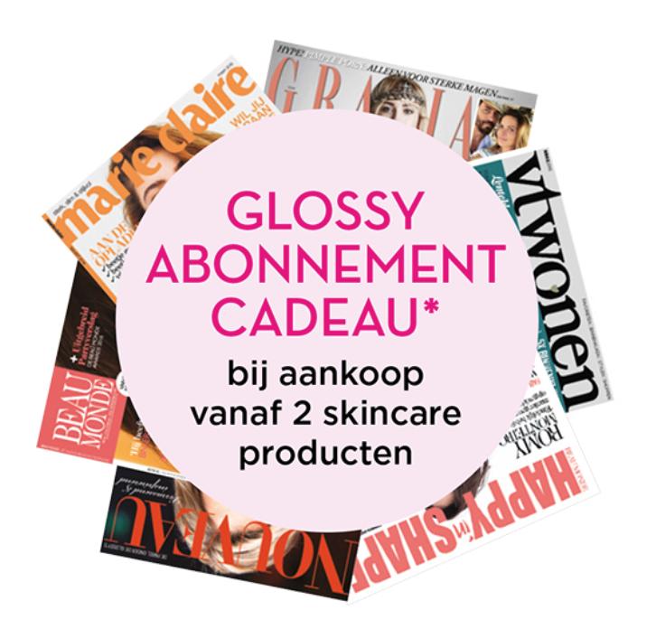 Glossy abonnement cadeau bij aankoop vanaf 2 skincare producten @ Ici Paris
