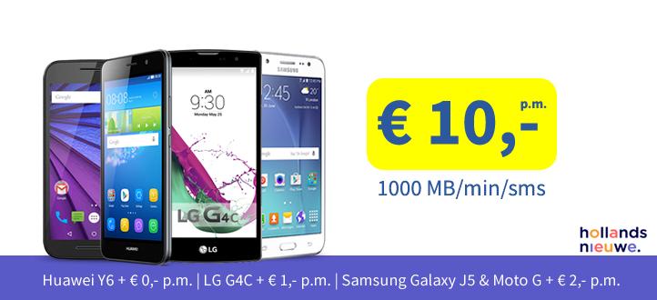 Hollandsnieuwe 1000 min/mb/sms  met toestel @mobiel.nl