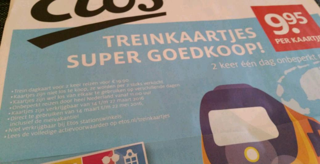 2x trein dagkaart voor €19,90 @ Etos