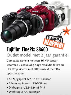 Fujifilm FinePix S8600, rood, wit of zwart voor € 79 @ Kamera-Express
