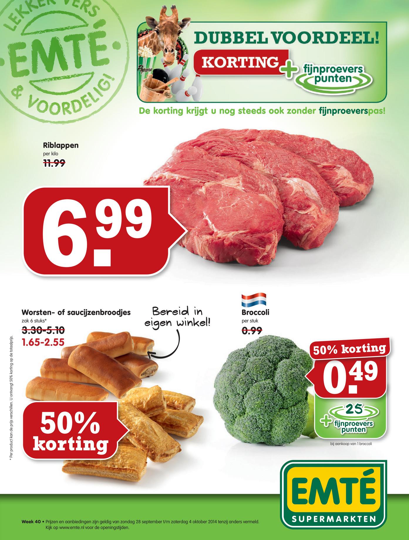 50% korting op verse worsten- en saucijzenbroodjes @ Emté