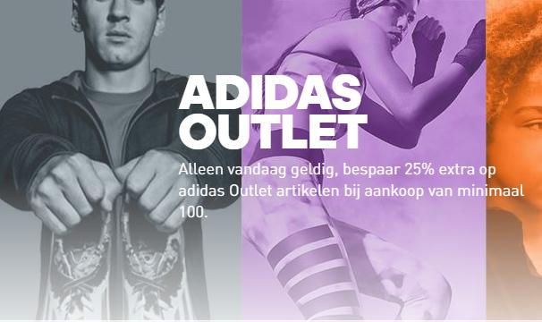 25% EXTRA korting op de outlet + GRATIS verzending @ Adidas (min €100)