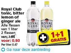 2 flessen Royal Club voor €0,93 @ Hoogvliet