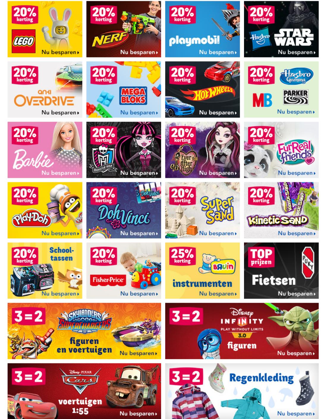 20% korting op LEGO, Playmobil, Barbie, Nerf en meer @ Toysrus