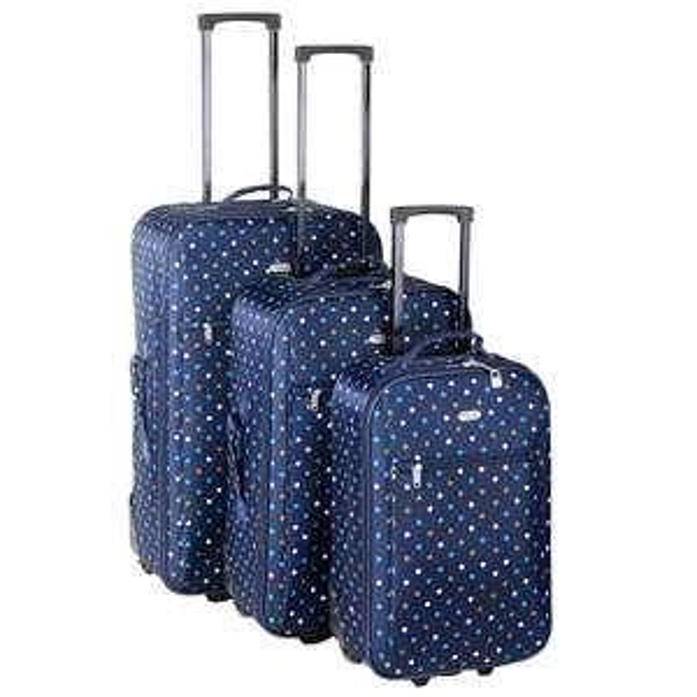 Travelz Trolleyset (3 koffers) blauw met stippen voor €40 @ Kijkshop