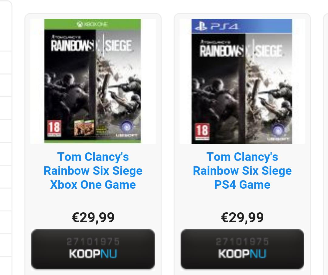 Tom Clancy's Rainbow Six: Siege (PS4/Xbox One) voor €31,98  @ Shop4NL