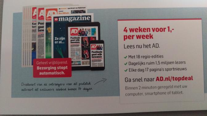 4 weken het AD voor 4 euro!