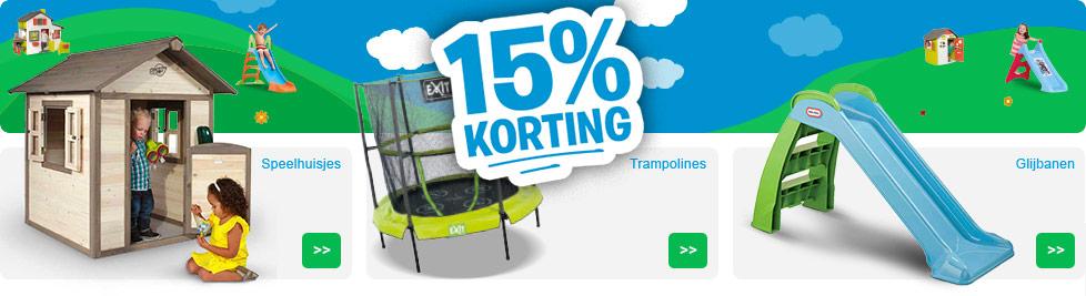 15% korting op speelhuisjes, glijbanen en trampolines @ Bart Smit