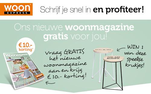 Gratis Woonexpress Woonmagazine + Gratis € 10,- Waardebon @ WoonExpress