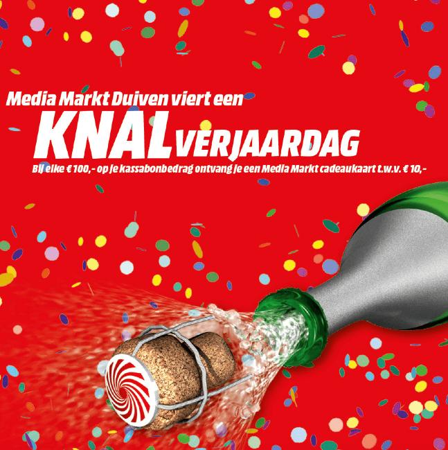 Media Markt Duiven bij elke € 100,- een cadeaubon van € 10,-