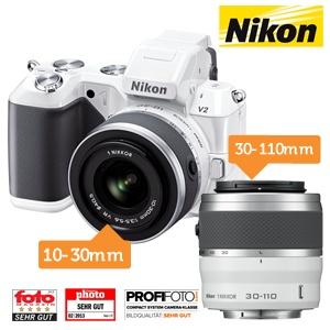 Nikon 1 V2 camera + 10-30mm en 30-110mm VR Lenskit voor €455,90 @ iBOOD