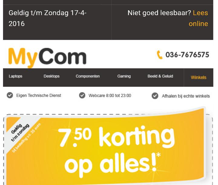 7.50 euro korting bij MyCom