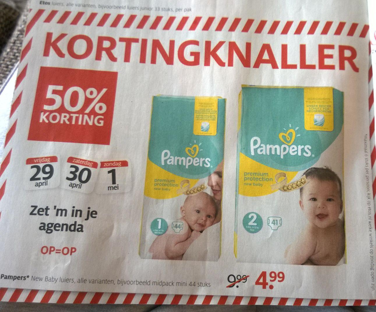 kortingknaller 50% korting op pampers new baby luiers