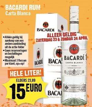 Bacardi rum 1 liter €15,- @Dirck III op 23 & 24 april