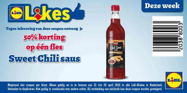 50% korting Kania chili saus LIDL