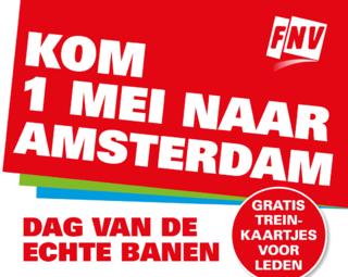 Gratis treinkaartjes naar Amsterdam op 1 mei voor leden @ FNV