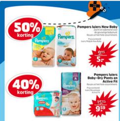 50% korting op New Baby / 40% op Baby Dry pants en Active Fit @  Trekpleister