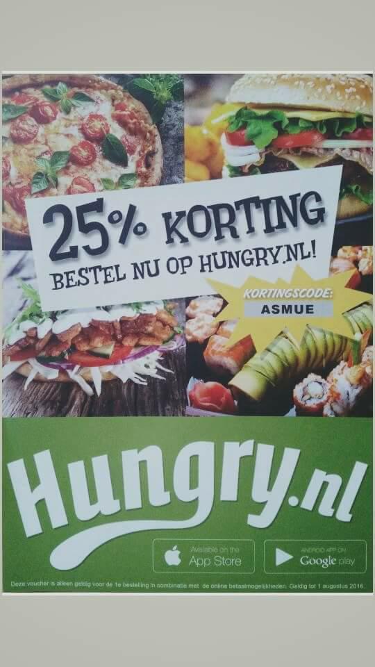 25% Korting@hungry.nl