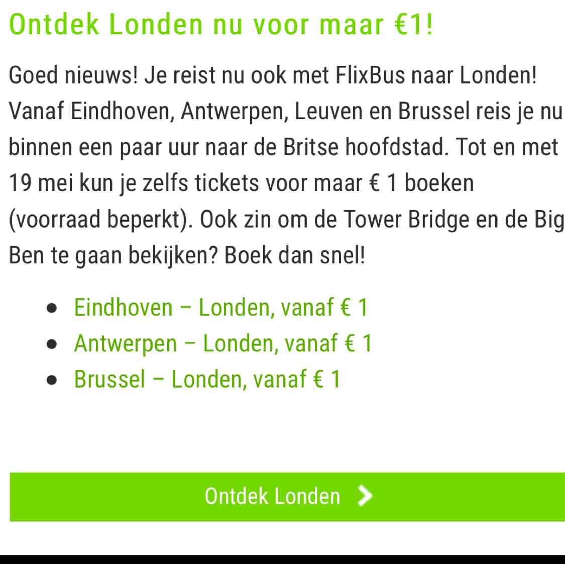 [UPDATE] Voor €1 met de flixbus naar Londen @ Flixbus
