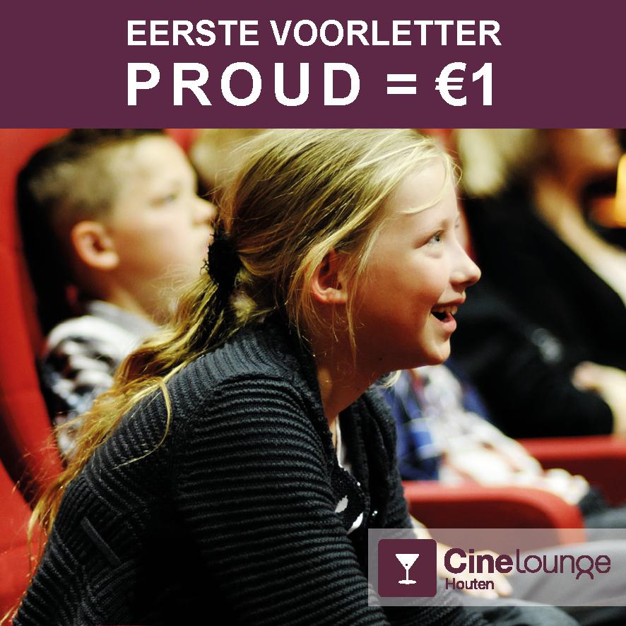 Voor 1 euro naar de bioscoop in Houten als je voornaam begint met p,r,o,u,d