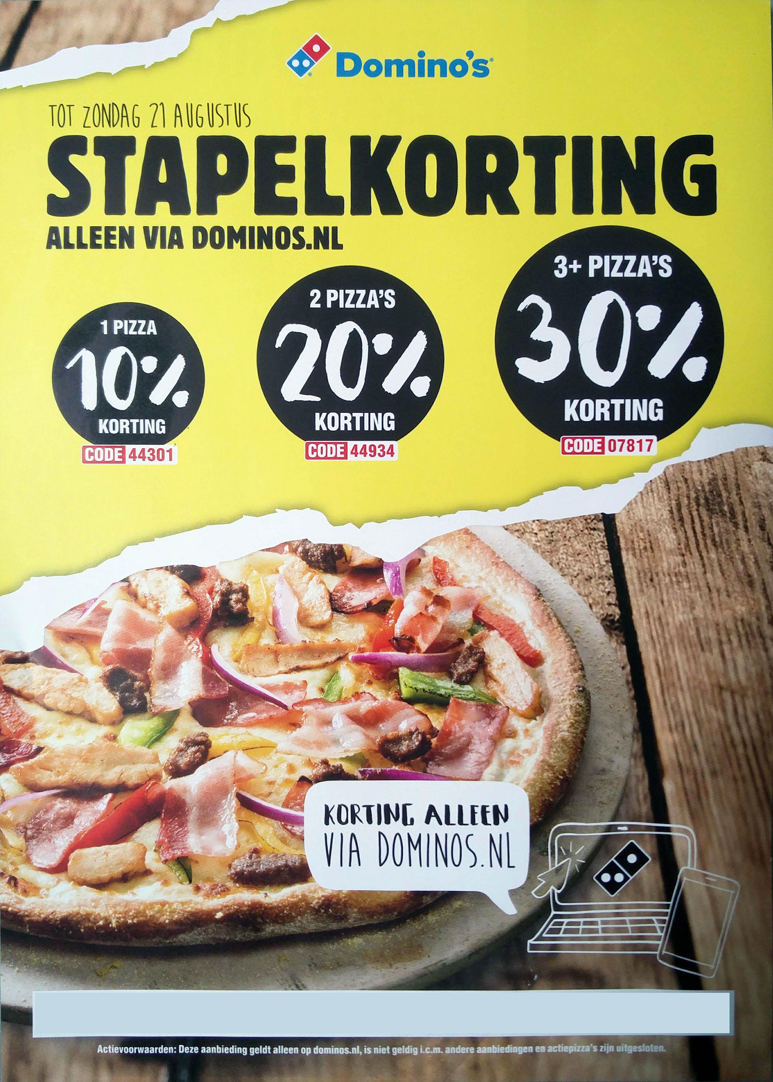 10, 20 of 30% stapelkorting bij Domino's Pizza