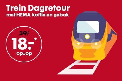 Trein dagretour incl koffie en gebak voor €18 @ HEMA