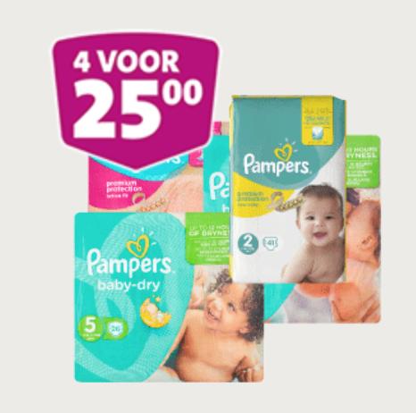 4 pakken Pampers €25 + €10 korting vanaf €50 @Jumbo