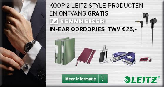 Gratis Sennheiser MX475 stereo earphones bij aanschaf van twee Leitz Style producten.