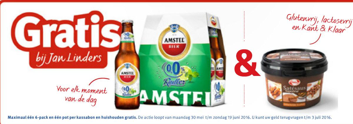 Gratis 6-pack Amstel Radler 0% en gratis Hela sate saus, bij Jan Linders Supermarkt (GTA)