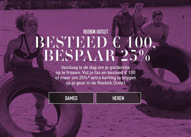 Vandaag 25% EXTRA korting op outlet @ Reebok (min €100)