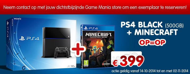 Playstation 4 + Minecraft voor €399