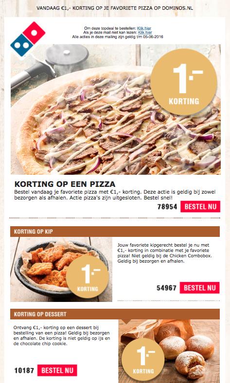 Diverse Pizza kortingscodes bij Dominos.nl