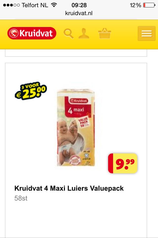 3 value pak luiers voor €25