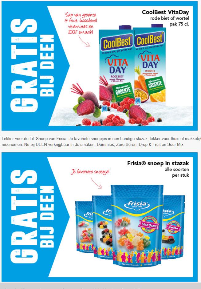 Gratis bij Deen: Cool Best Vita Day en Frisla snoep